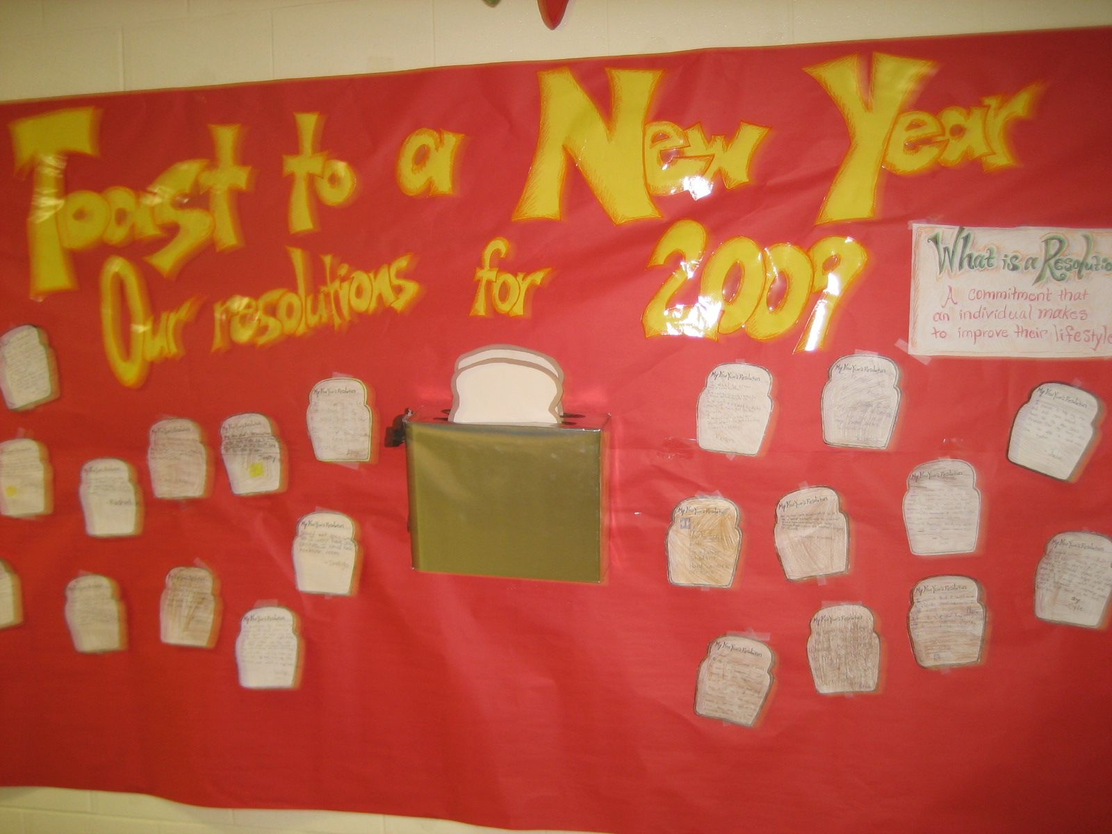 Classroom Ideas For New Years ~ New year resolution bulletin board instead champan