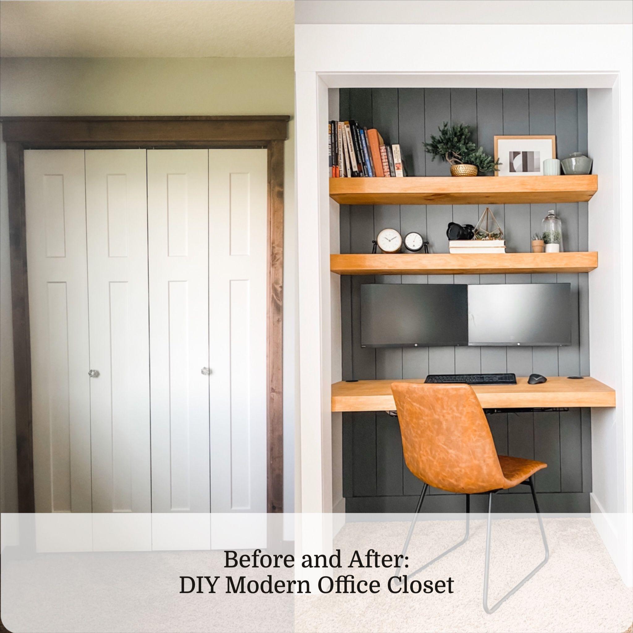 Diy modern office closet in 2020 small bedroom office
