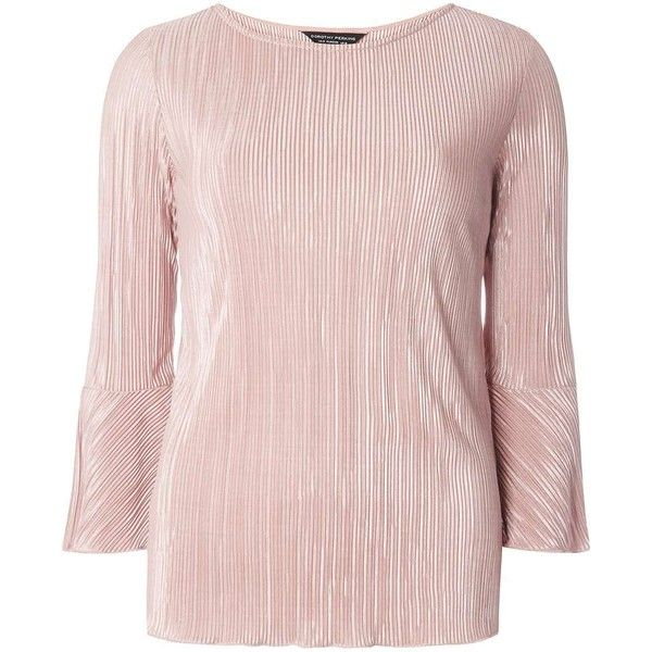Dorothy Perkins Rose Plisse Flute Sleeve Top (155 RON) ❤ liked on Polyvore featuring tops, dusky rose, sleeve top, long sleeve tops, pink jersey, dorothy perkins and rose tops