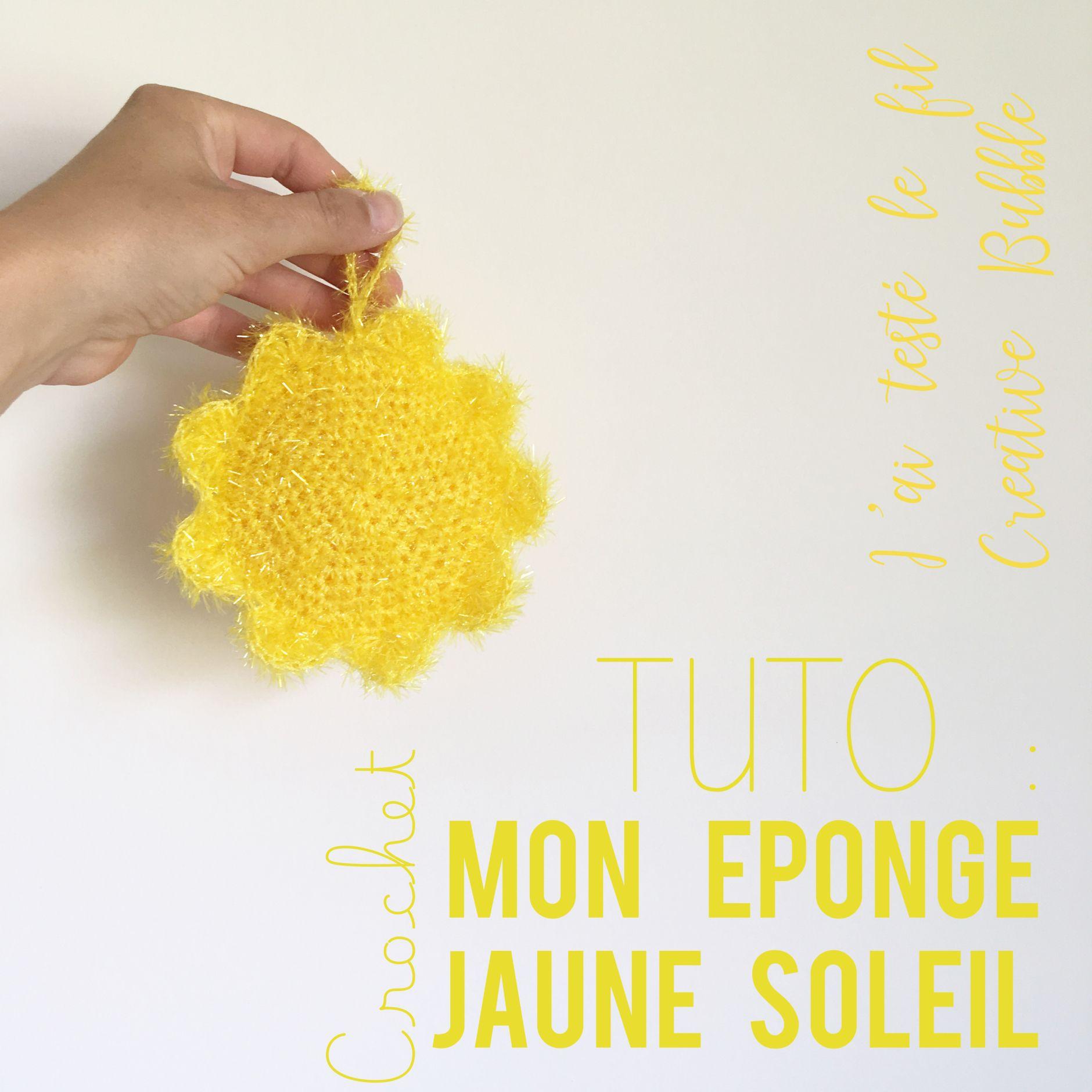 Tuto - Crocheter une éponge soleil avec le fil Creative Bubble Rico ...