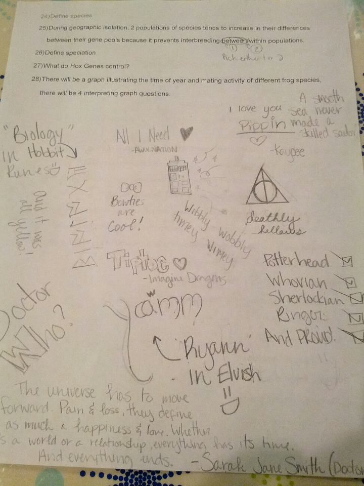 What I do in my biology class instead of learning about biology... :)