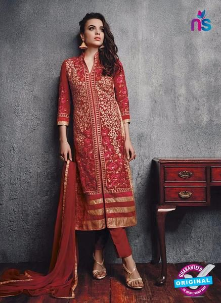 SC 13092 Red Embroidered Faux Georgette Party Wear Straight Designer Suit