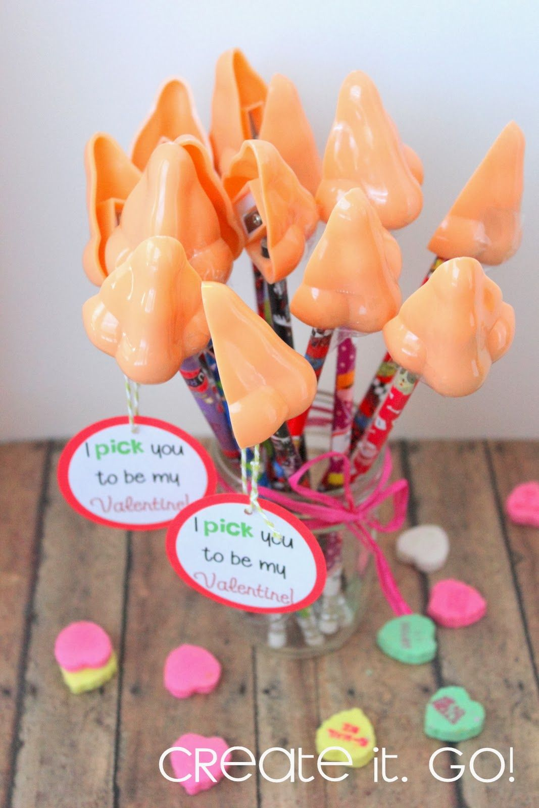last minute creative valentine ideas for kids nose pencil sharpeners i pick you to - Boy Valentine Ideas