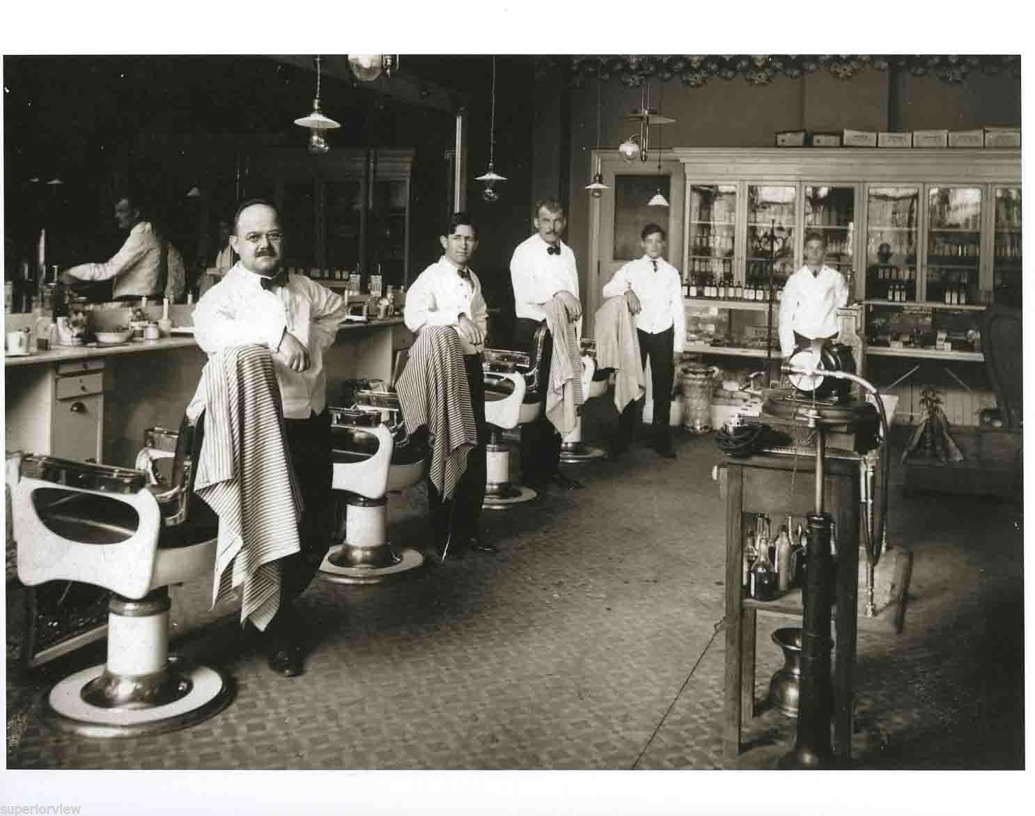 Old barber shop window - Vintage Barber Shop Old Time Barber Chairs Tonic Bottles Shoe Shine Barbers Look Ebay