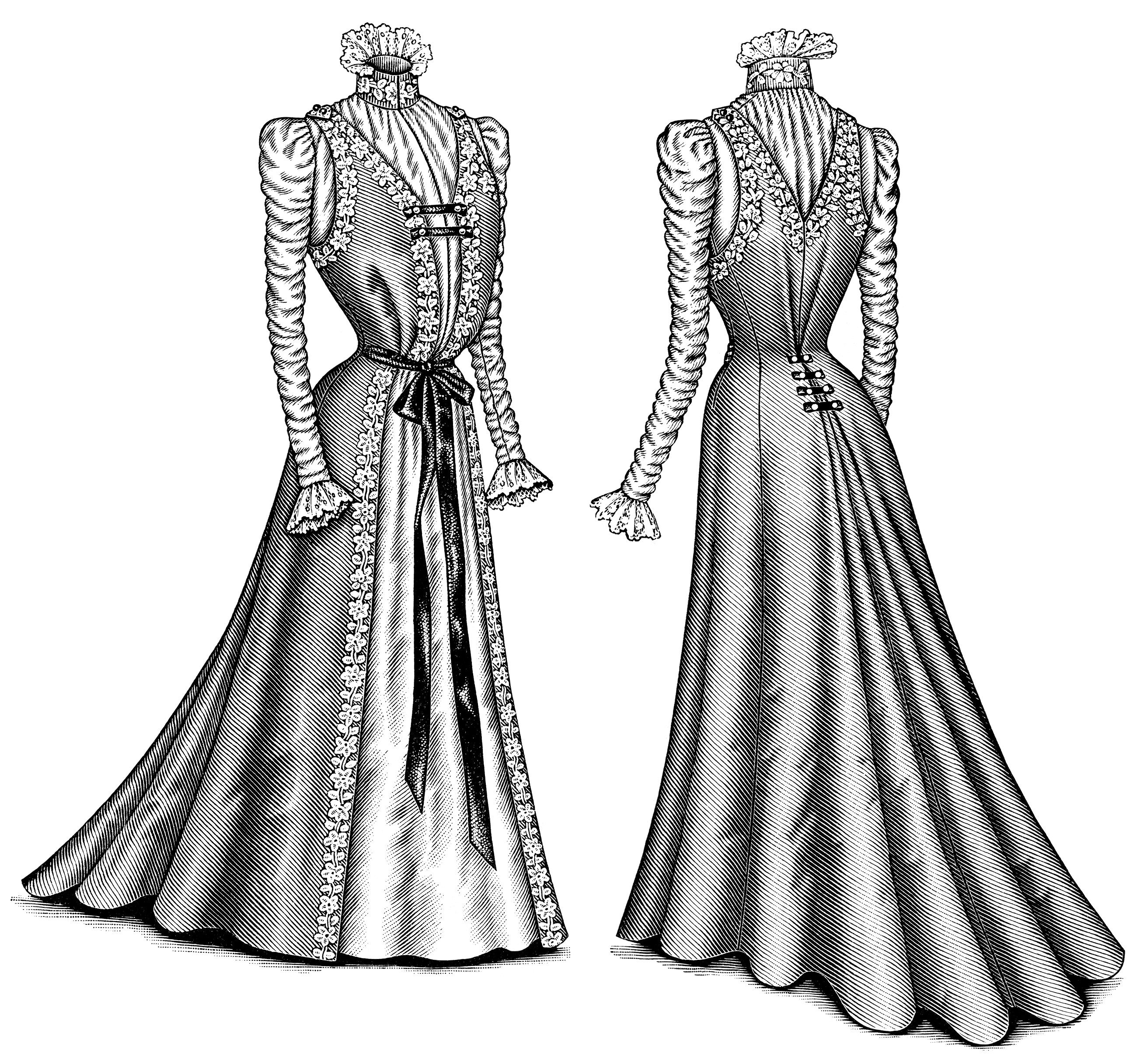 Victorian style dresses art