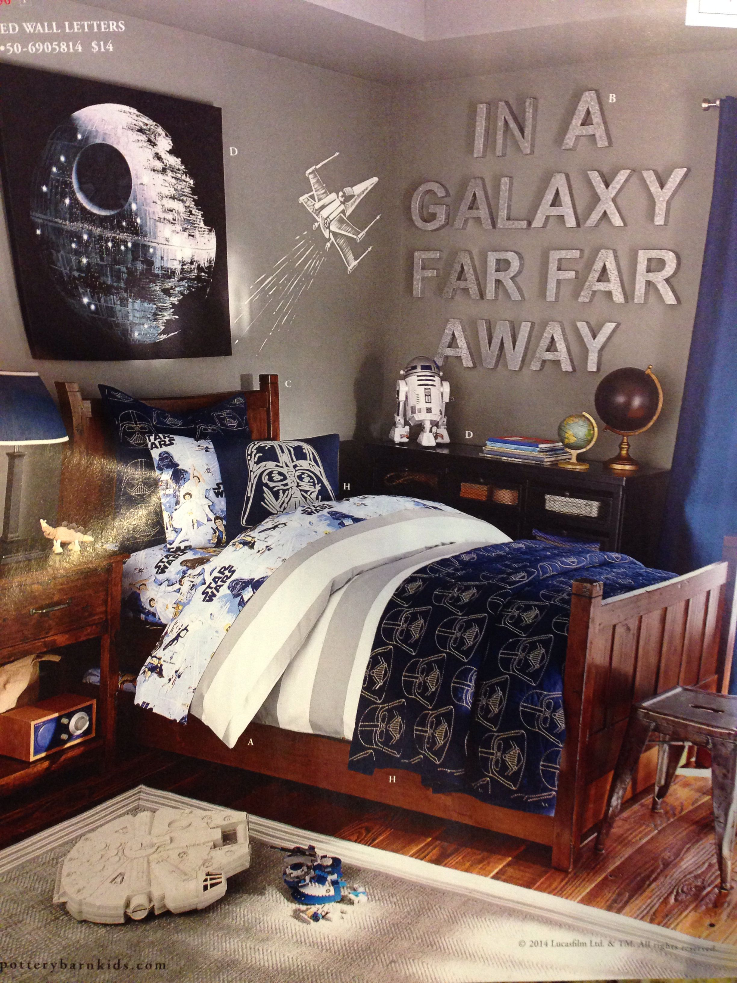 Boys star wars room pottery barn kids jt like the wall - Bedding and curtains for bedrooms ...