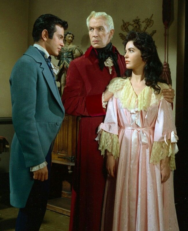"Vincent Price, Mark Damon, and Myrna Fahey in ""House of Usher"" (1960)"