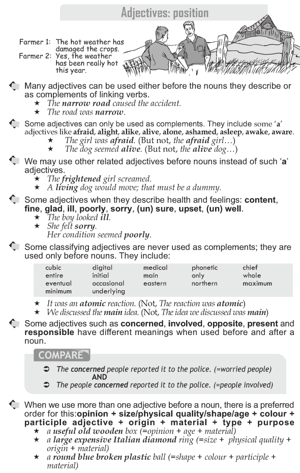 Grade 10 Grammar Lesson 19 Adjectives Position 1 Eld Teaching
