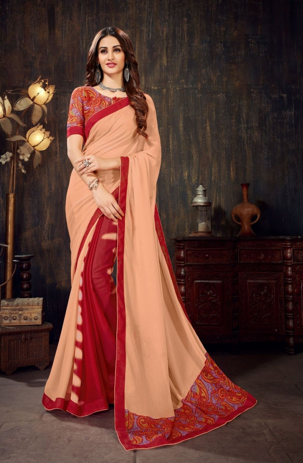 ee945c45f1 Buy Women's Party Wear Traditional Embroidery Work Saree With Piece Online  at Low prices in India