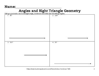 Angles and Right Triangle Geometry Lesson 2 of 6 Angle Construction ...