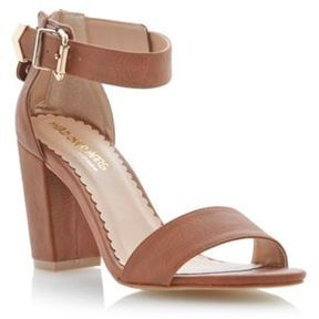 de5f8a3bab1 ShopStyle.co.uk: Tan two part ankle strap block heel sandal £39.00 ...