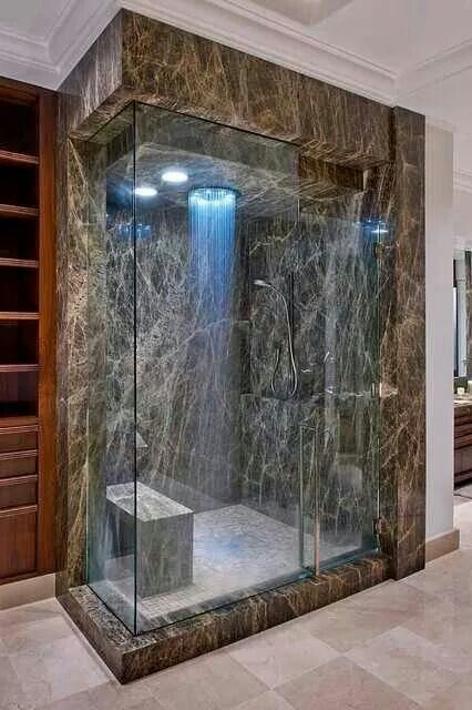 Elegant Traditional Master Bathroom With Rain Shower, Handheld Showerhead, MS  International Emperador Cafe Marble Slab, Mosaic Tile