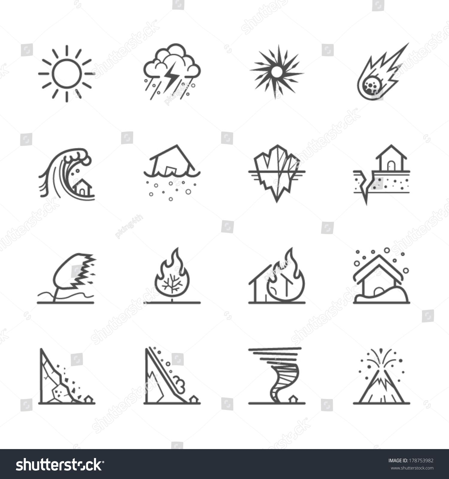 Natural Disaster Icons Sponsored Ad Natural Disaster Icons In 2020 Mini Drawings Easy Love Drawings Natural Disasters
