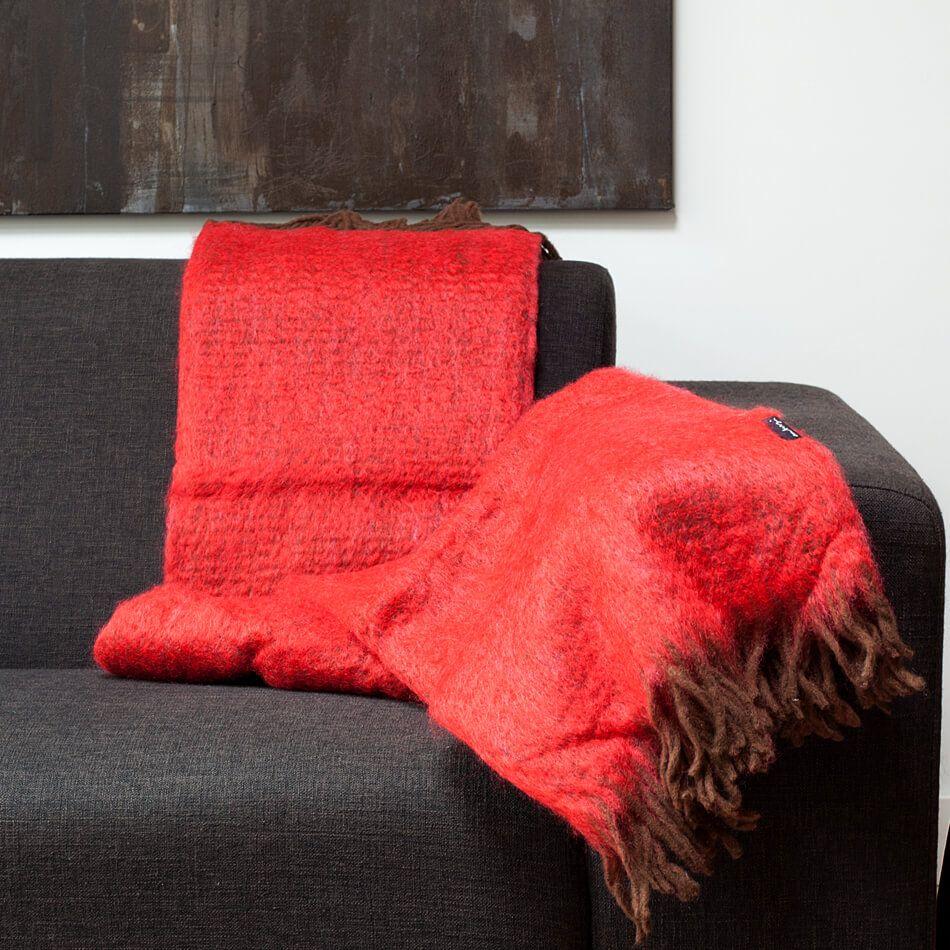 Mohairdecke Rot Mit Fransen In Braun Alpaka Decke Deckchen Und