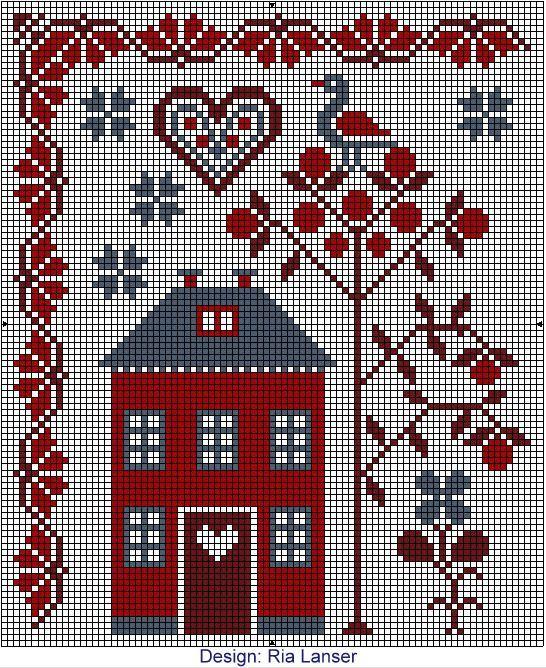 Cross Stitch Wzorcownia Designed By Ria Lanser Ta Seria Z Pewnoscia Zachwyci Wa Cross Stitch House Cross Stitch Fruit Cross Stitch Samplers