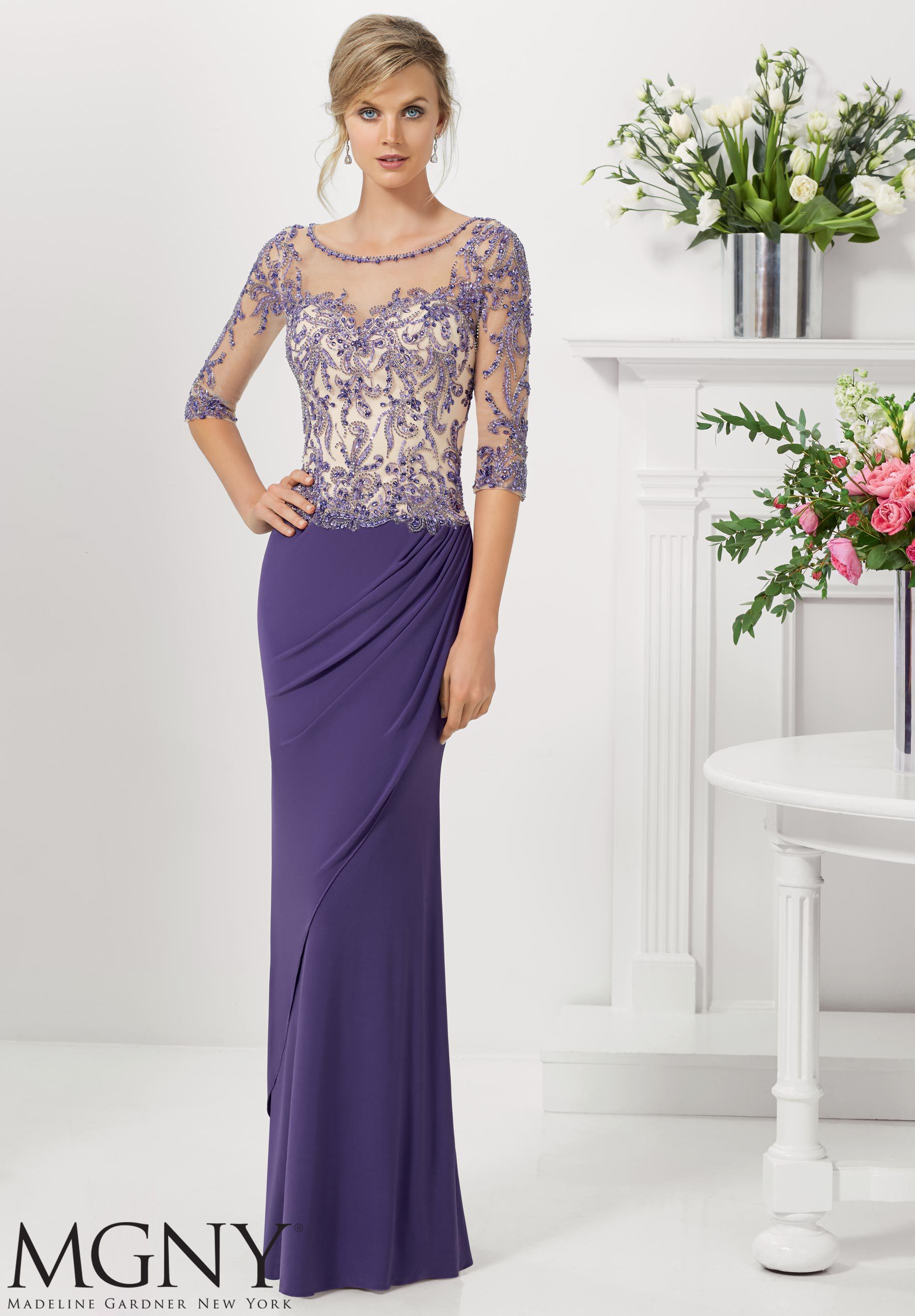Jersey with embroidery and beading on net evening gown soft