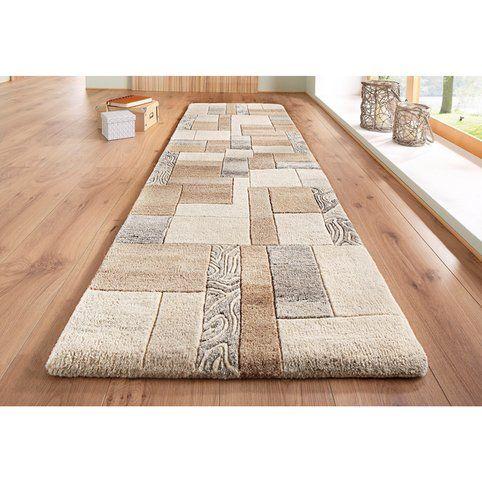 tapis rectangulaire de couloir effet patchwork en pure laine vierge lola theko - Tapis Couloir