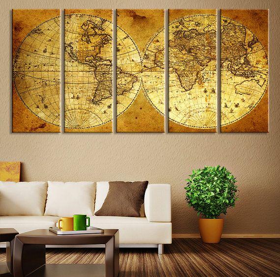 CANVAS ART Print - Vintage World Map Canvas Print, X Large Art ...