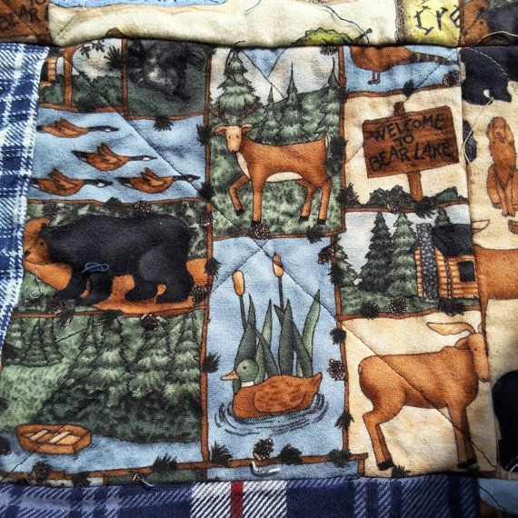 Flannel rag quilt rustic Welcome to Bear by TheNarrowStaircase