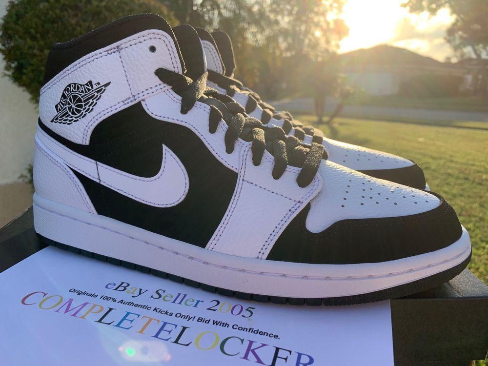 f3f0faa37ca1 New 2018 Nike Air Jordan 1 Retro MID Tuxedo White Black 554724-113 ...