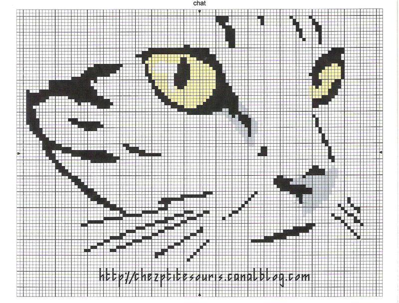 grille broderie chat 15   Chats en points de croix, Animaux de point de croix, Point de croix drôles