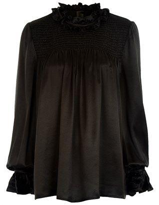 Black Silk Smocked Ada Blouse