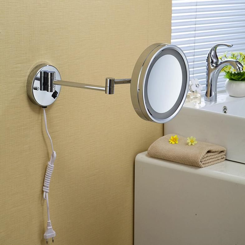 Visit To Buy High Quality 10 Brass One Side Bathroom Wall Mounted Round Led Cosmetic Makeup Mirror With Lighting Mirror Bath Ac Wall Mounted Mirror Makeup Mirror With Lights Extendable Bathroom