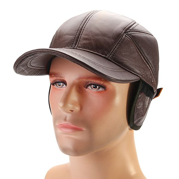 High-quality Mens Winter Genuine Leather Baseball Caps With Ear Flaps  Outdoor Warm Trucker Hats 0dedb8cae88a