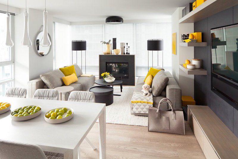Deco Salon Scandinave Moderne En Gris Blanc Noir Et Accents Jaune Canari  Also Astuces Design Idees