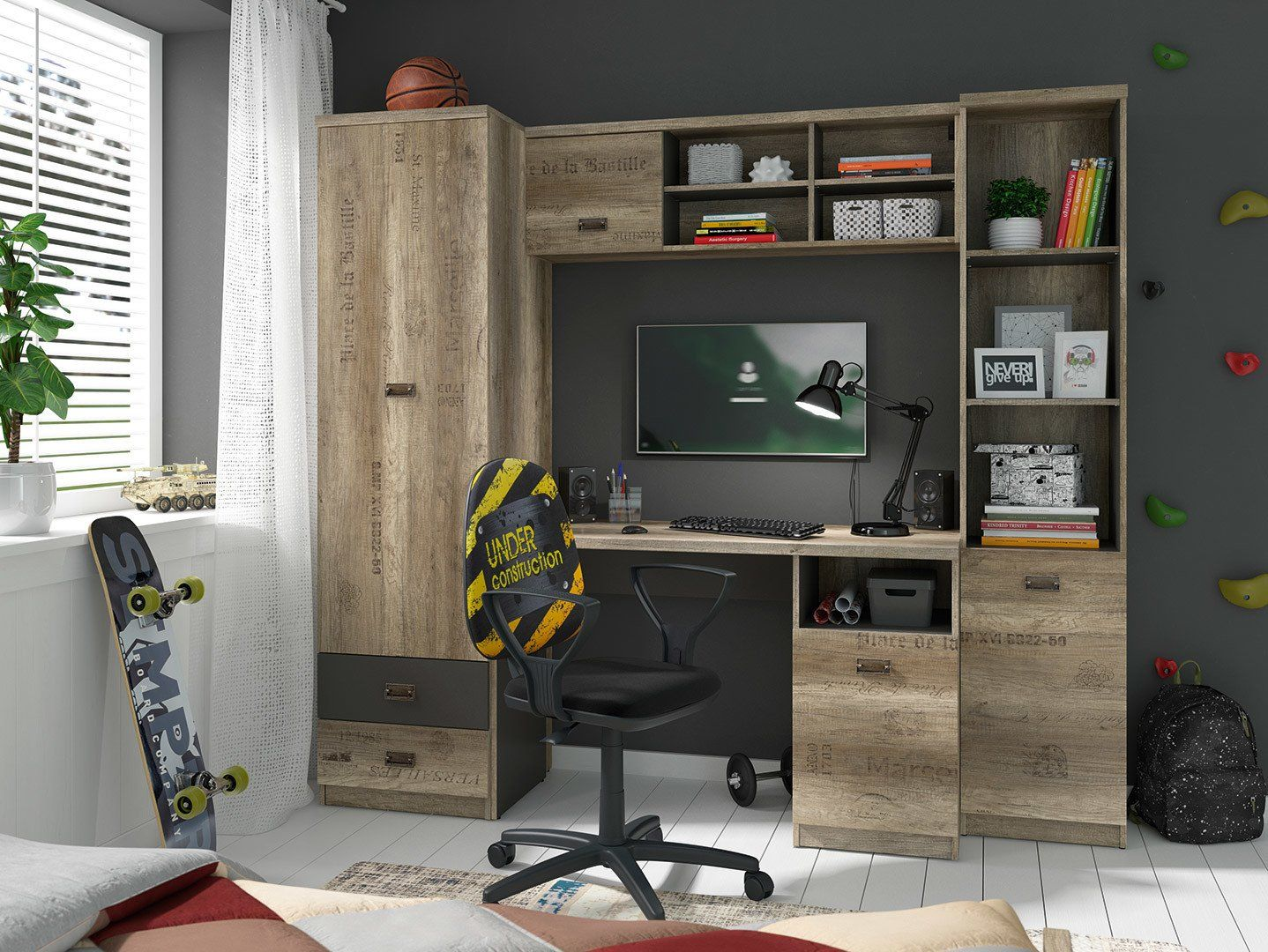 Urban Oak Grey Home Office Study Furniture Set With Desk Tall