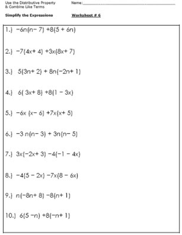 Algebra Worksheets For Simplifying The Equation Math