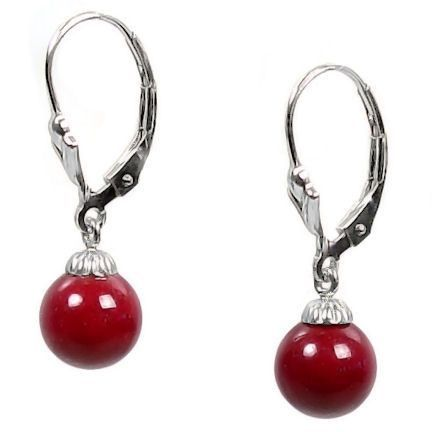 8mm Red Coral Ball Drop Leverback Earrings 925 Silver