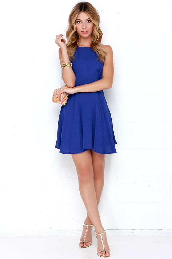 West Coast Swing Royal Blue Skater Dress | Royal blue skater dress ...