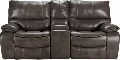 Cindy Crawford Home Gianna Gray Leather Reclining Sofa Rustic