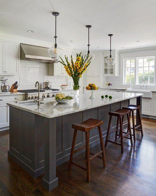 7ft Gray Kitchen Island With White Carrara Quartz Top Custom