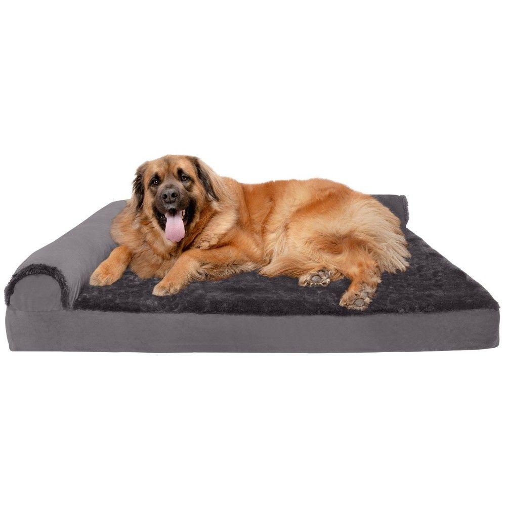 Furhaven Plush Velvet Deluxe Chaise Lounge Orthopedic Sofa Style Dog Bed Jumbo Plus Platinum Gray Orthopedic Dog Bed Dog Pet Beds Couch Pet Bed