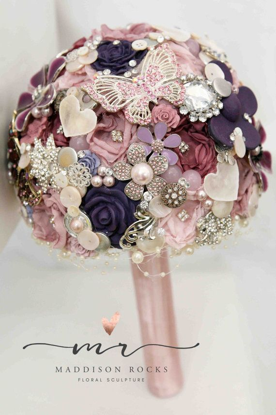 Pinks Purple Button Brooch Bouquet Rhinestone Bouquet Vintage And