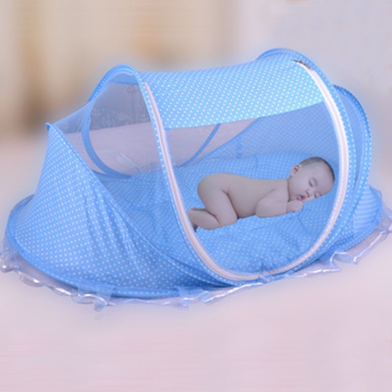 Blue Foldable Portable Infant Baby Travel Mosquito Net Crib Bed Tent with Pillow for Home Use