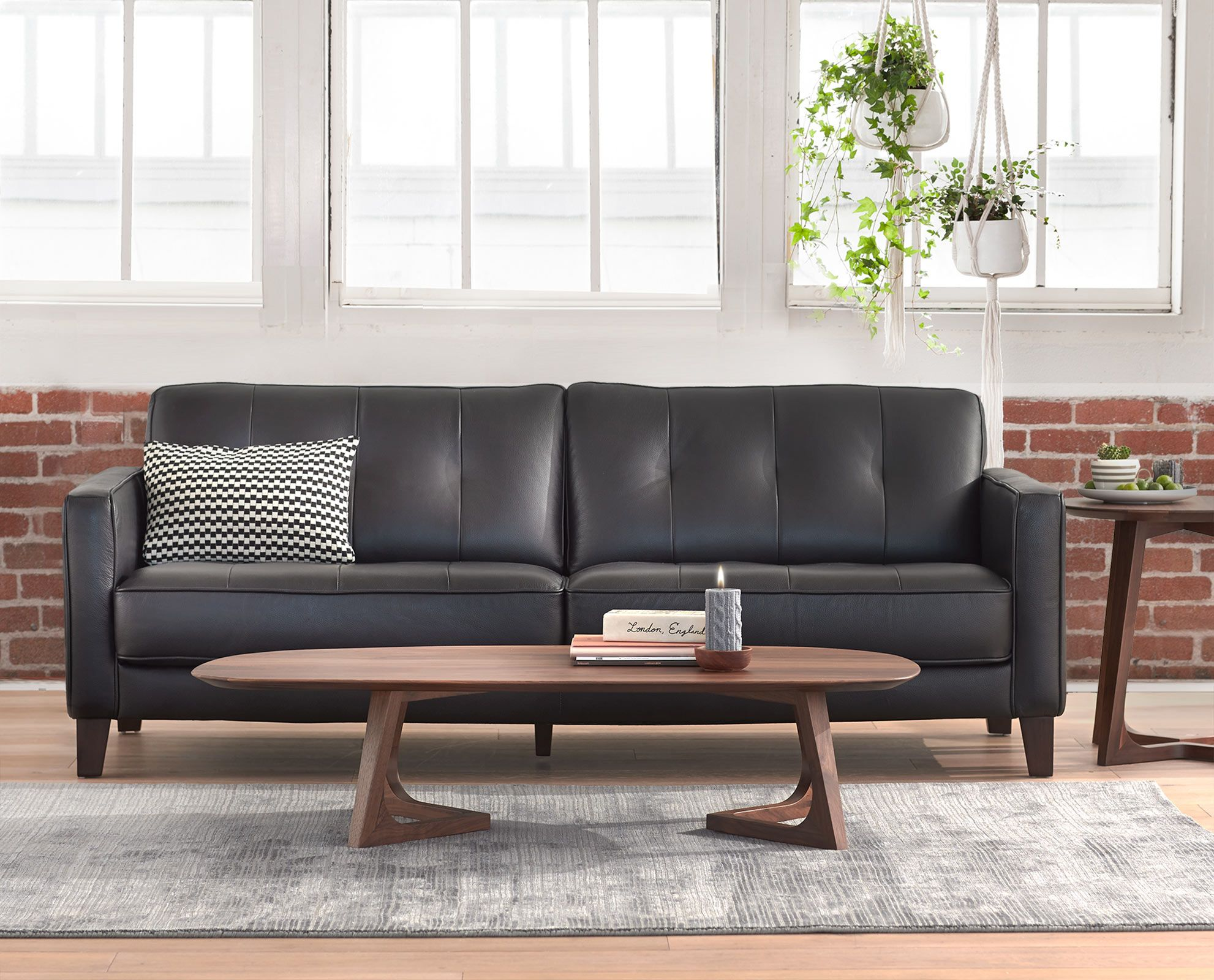 Marvelous Gregata Leather Sofa Black Living Room Furniture Gmtry Best Dining Table And Chair Ideas Images Gmtryco