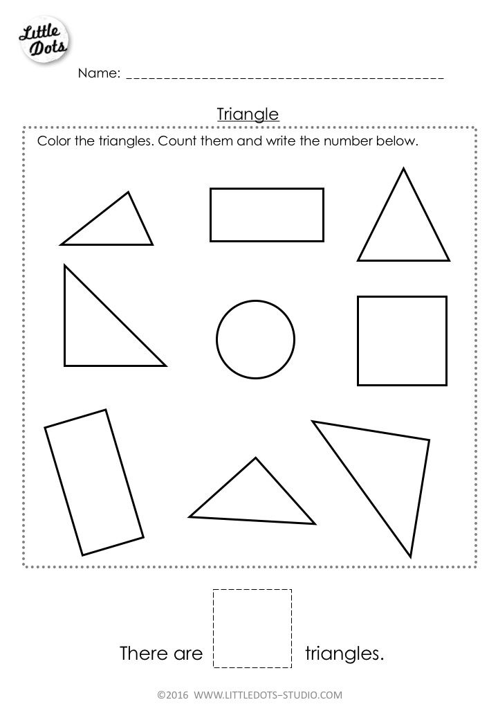 Free Pre K Triangle Shape Worksheet Learn To Recognise And Count