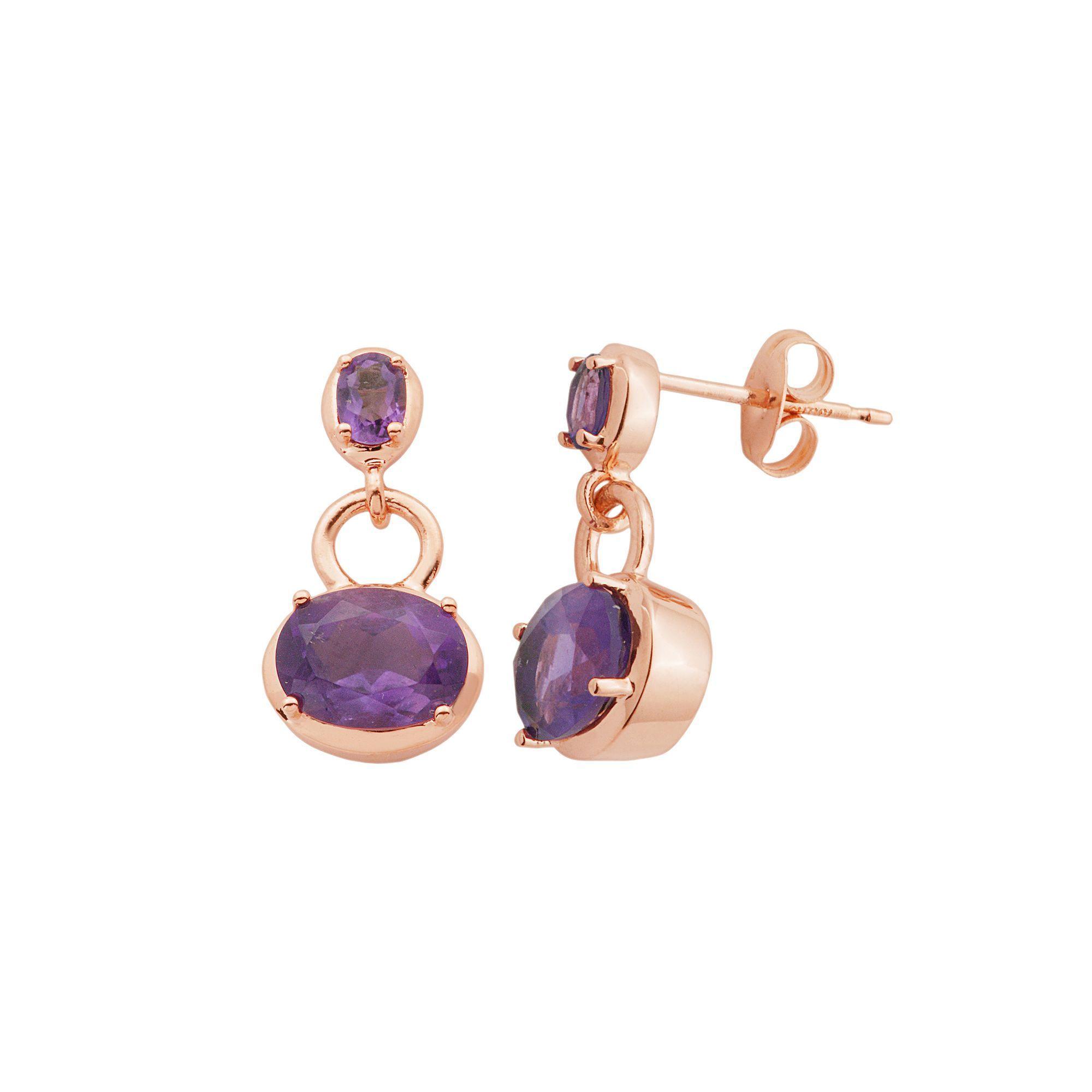 Amethyst 18k Rose Gold Over Silver Oval Drop Earrings, Women's, Purple