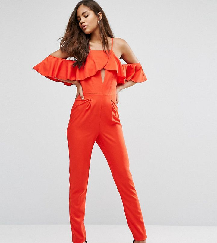 Influence Tall Jumpsuit With Cold Shoulder And Ruffles