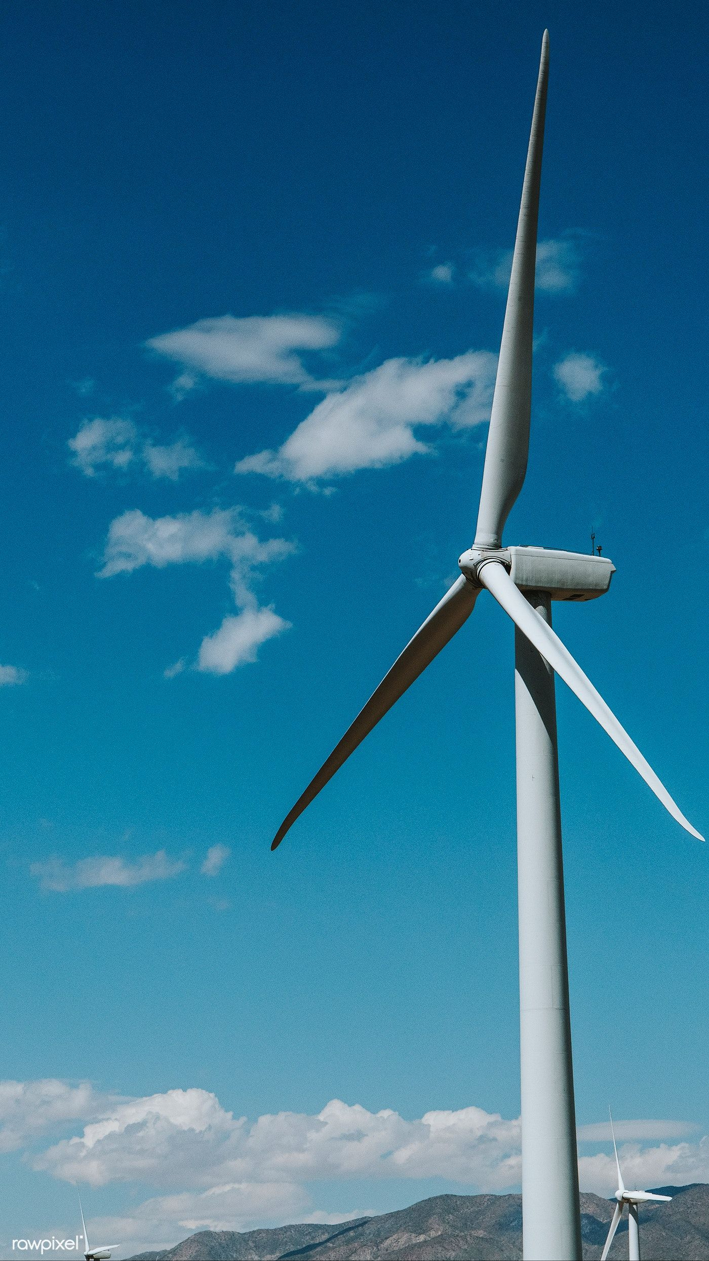 Wind Turbine With A Blue Sky Free Image By Rawpixel Com 4k Iphone And Mobile Phone Wallpaper Teddy Home Wind Turbine Wind Turbine Building A Wind Turbine