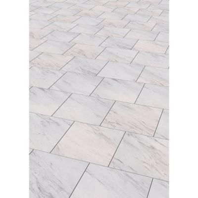 Trafficmaster Carrara Marble 12 In X 12 In Peel And Stick Vinyl Tile 30 Sq Ft Case Ss1212 The Home Depot Marble Vinyl Vinyl Tile Luxury Vinyl Tile Flooring