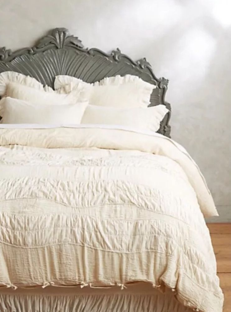 Exquisite Ruching In Waving Bands Create Textural Detail Atop This Crinkled Cotton Duvet From Anthropologie Editors Machine Wash Full X