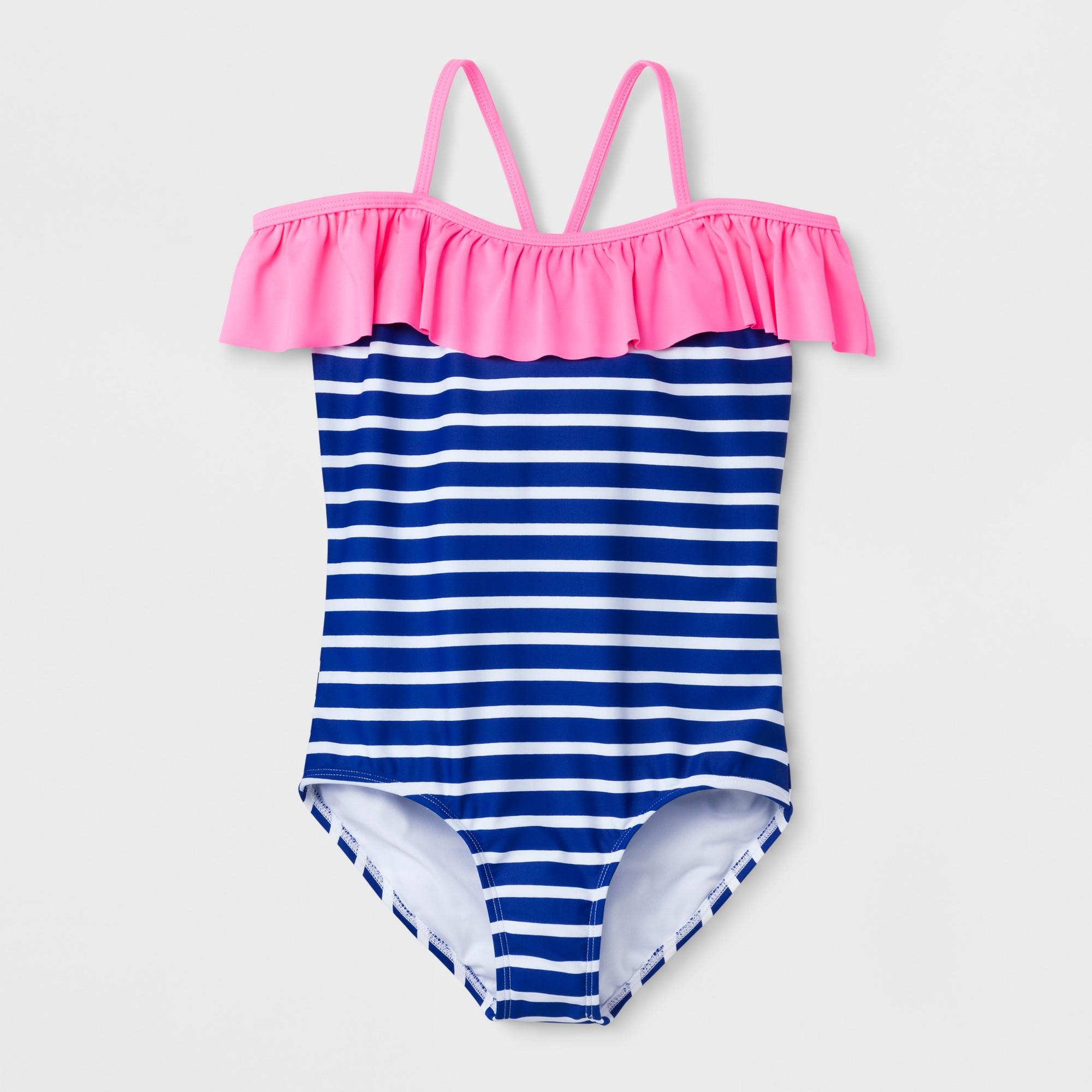 Freestyle Girls\' Star Stripe Off Shoulder One Piece Swimsuit - Blue ...