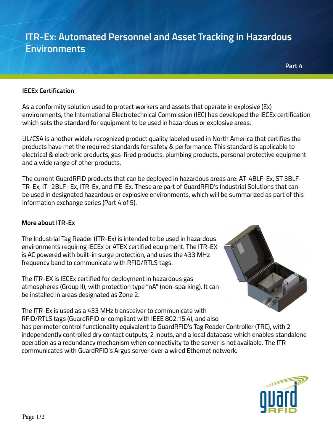 Industrial Tag Reader Itr Ex Is Certified For Use In