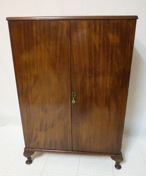 Antique Art Deco Mahogany Chest Linen Press Dresser Highboy TV Media Cabinet