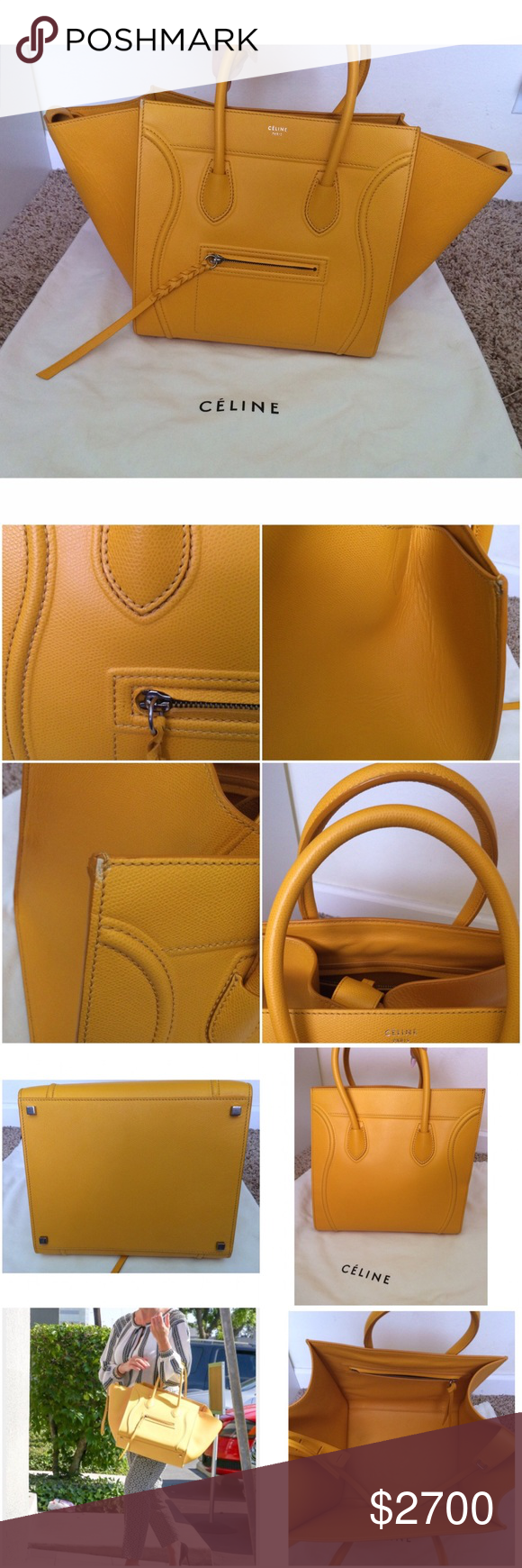"""EUC Celine Yellow Grain Leather Phantom Bag Still in really good condition Celine yellow grain leather bag. 100% authentic. It comes with the dust bag. No card or receipt. Only flaw is small tear on the right upper hand corner. Features one zipper pocket & zipper pocket in front. adjustable bucket belt in the middle. Can be worn fold in or the flaps fold out. Exterior and interior are clean. No stains. #: S-PA-0193.  Measure 21"""" length stretch open across and almost 11"""" height. ❌No trades or…"""