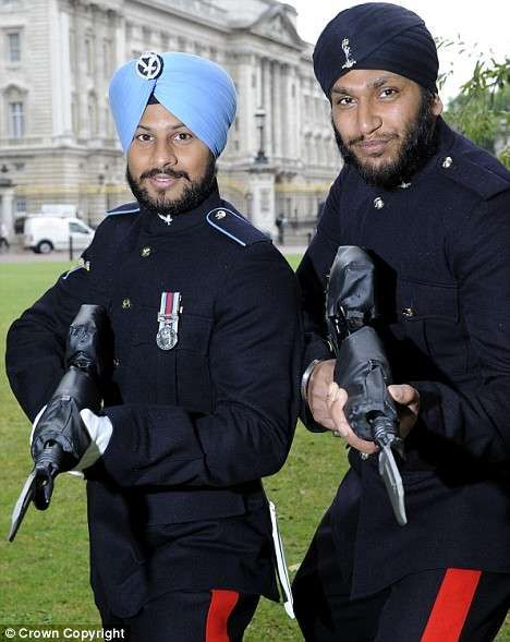 British Army Sikh Soldiers of the Army Air Corps and Royal Corps Of Signals in No1 Dress, 2015.